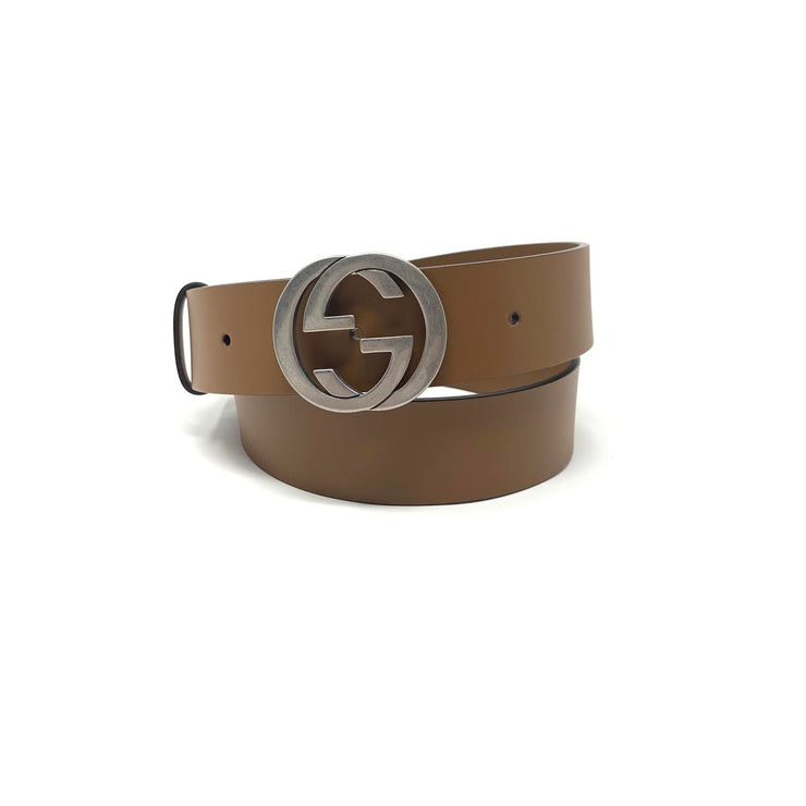 Gucci Interlocking GG Signature Leather Belt Brown Consignment Shop From Runway With Love