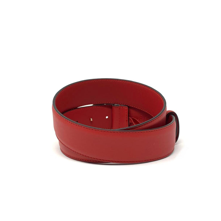 Gucci Interlocking GG Signature Leather Belt Red Consignment shop from runway with love