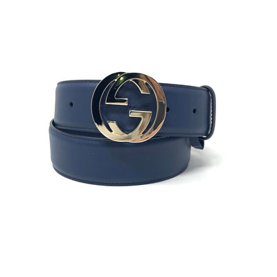 Gucci Interlocking GG Blue Leather Belt Womens Consignment Shop From Runway With Love
