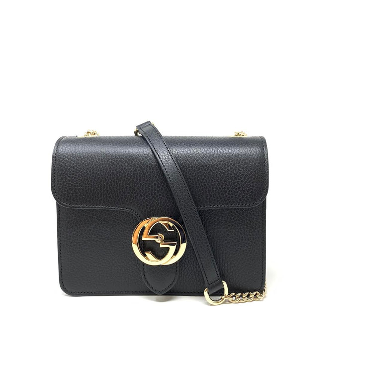 Gucci Interlocking GG Shoulder Bag Black Leather Silver Consignment Shop From Runway With Love