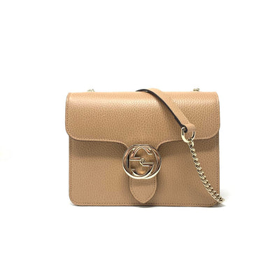 Gucci Interlocking GG Shoulder Bag Nude Beige Tan Leather Consignment Shop From Runway With Love