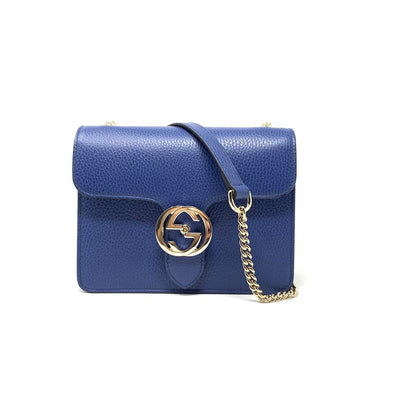 Gucci Interlocking GG Shoulder Bag Leather Blue Consignment Shop From Runway With Love