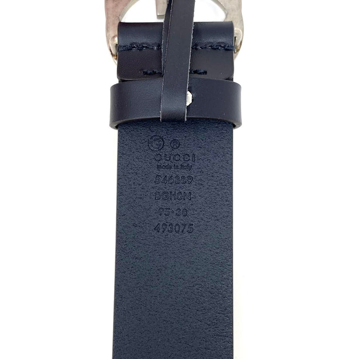 Gucci Interlocking GG Signature Leather Belt Navy Blue Consignment shop from runway with love