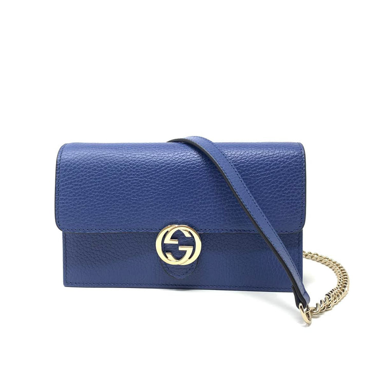 Gucci Interlocking GG Wallet On Chain in Blue