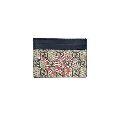 Gucci Kingsnake Supreme Card Holder Beige Consignment shop from runway with love