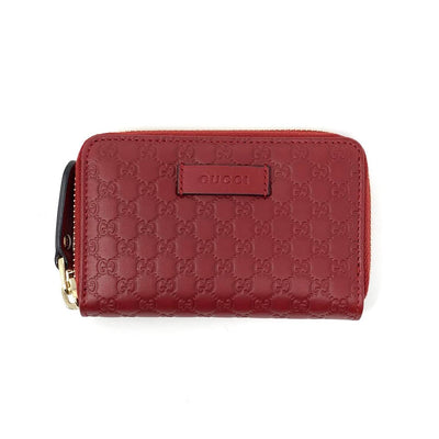 Gucci Leather Guccissima Red Zip Around Wallet Card Holder Gold Consignment Shop From Runway With Love