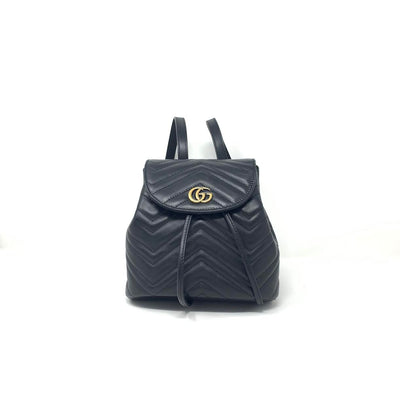 Gucci Marmont GG Matelassé Backpack Leather Black Consignment Shop From Runway With Love