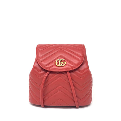 Gucci Marmont GG Matelassé Backpack Red Leather Consignment Shop From Runway With Love