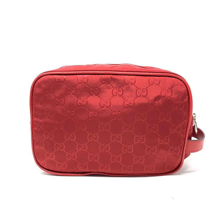 Gucci Red Nylon Toiletry Bag Cosmetic  Consignment Shop From Runway With Love