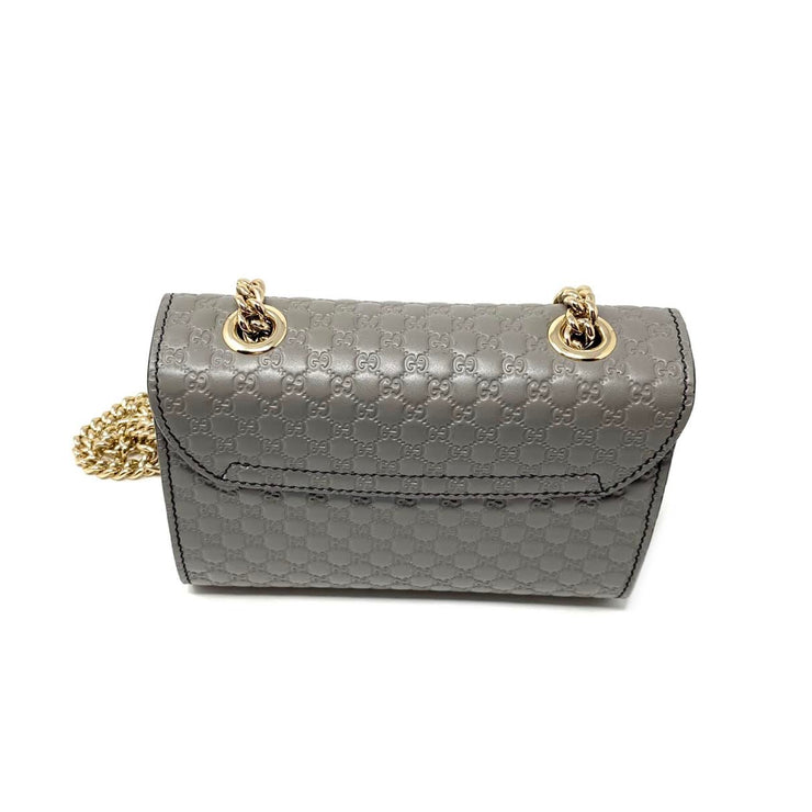 Gucci Microguccissima Mini Emily Bag Gray Leather Crossbody Chain Consignment Shop From Runway With Love