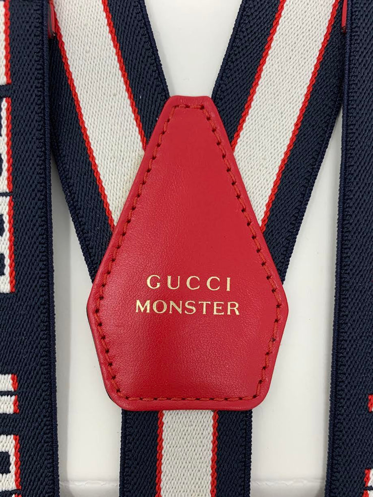 Gucci Monster Blue and White SuspendersKids Boys Children's Consignment Shop From Runway With Love