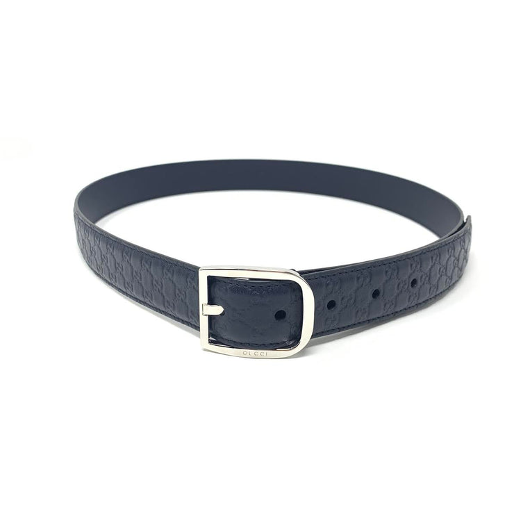 Gucci Navy Guccissima Leather Belt Silver Buckle Mens Consignment Shop From Runway With Love