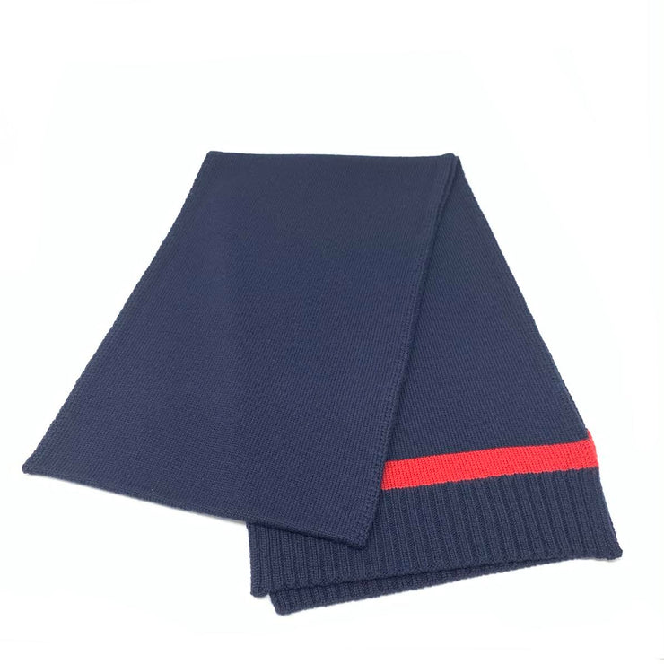 Gucci Navy Blue Wool Scarf Red Stripe Consignment Shop From Runway With Love