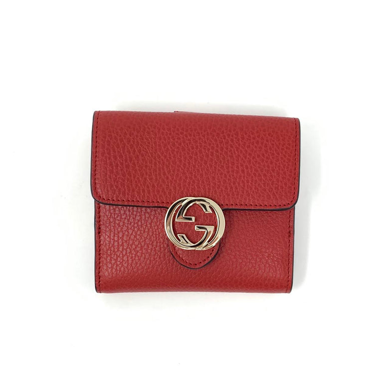 Gucci Interlocking GG Compact Wallet Red Leather Consignment Shop From Runway With Love