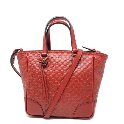 Gucci Microguccissima Small Bree Tote red Leather Crossbody Consignment Shop From Runway With Love