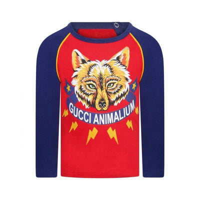 Gucci Red Wolf Animalium Print Long Sleeve Baseball Top Consignment Shop Kids Boys From Runway With Love