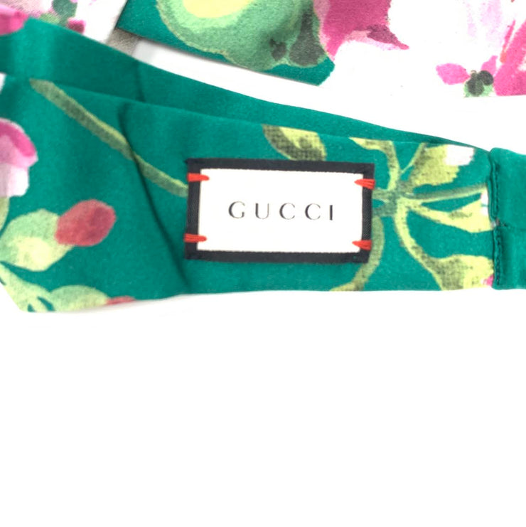 Gucci Silk Duchesse Headband Floral Green Pink Consignment Shop From Runway With Love