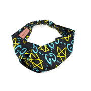 Gucci Silk Headband Ghost Stars Black Blue Luxury designer consignment shop from runway with love
