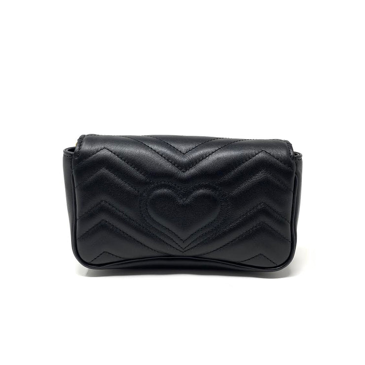 Gucci Super Mini GG Marmont Matelassé Bag in Black consignment Shop From Runway With Love