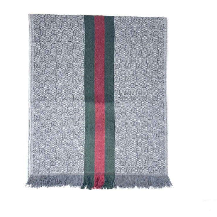 Gucci Wool Silk Scarf Gray Red Green GG Print Consignment Shop From Runway With Love