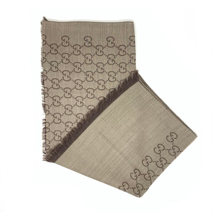 Gucci Wool-Silk Scarf Frayed edges Brown GG Print Consignment Shop From Runway With Love
