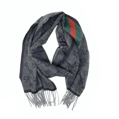 Gucci Wool-Blend Signature Web Scarf Gray Alpaca Wool Consignment Shop From Runway With Love