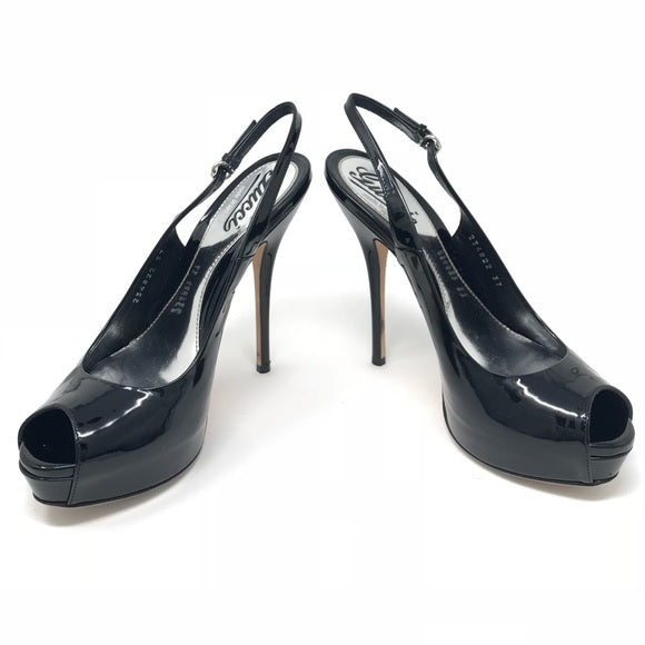 Gucci black patent leather sling back pumps