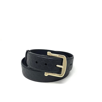 Gucci Black Guccissima Belt Gold Buckle Designer Consignment From Runway With Love