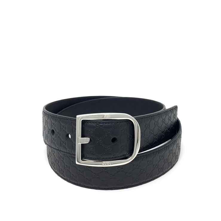 Gucci Black Guccissima Leather Belt Designer Consignment From Runway With Love