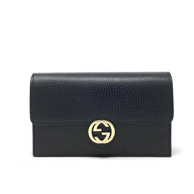 Gucci Interlocking GG Wallet On Chain in Black w/ Tags