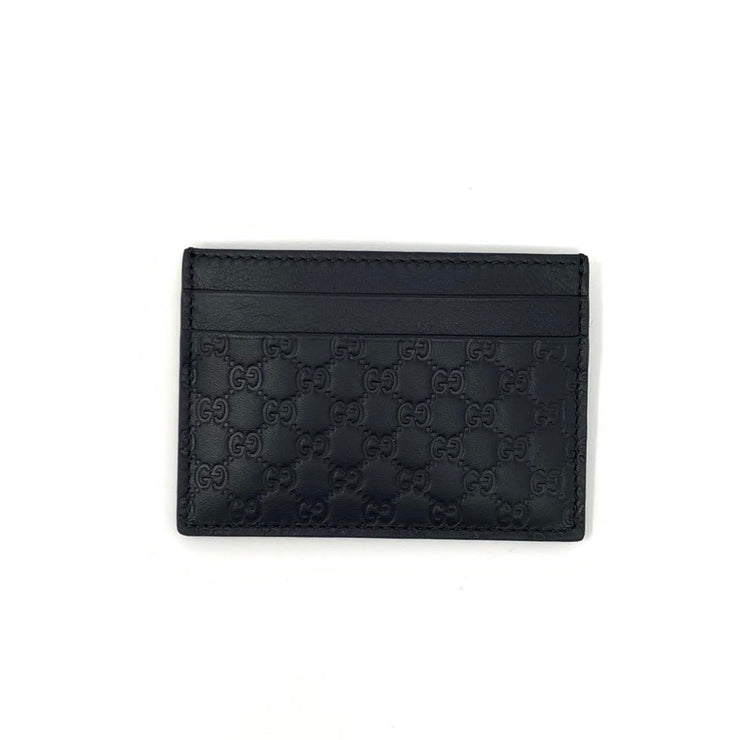 Gucci Black Leather Guccissima Card Holder Designer Consignment From Runway With Love