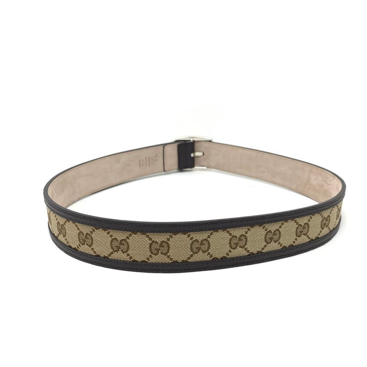 Gucci Leather Trimmed Canvas Belt brown Consignment Shop From Runway With Love