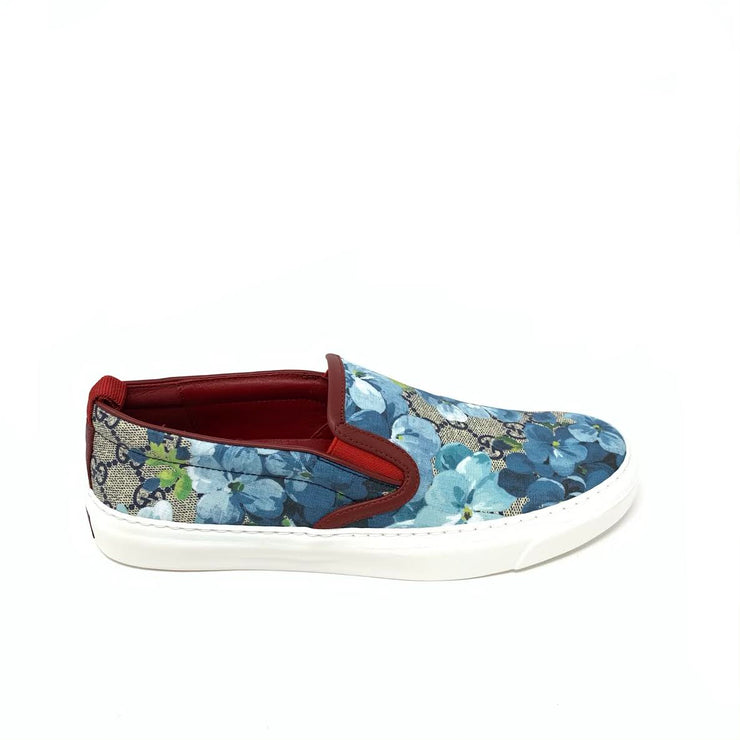 Gucci GG Blooms Slip On Sneakers Floral Blue Designer Consignment From Runway With Love