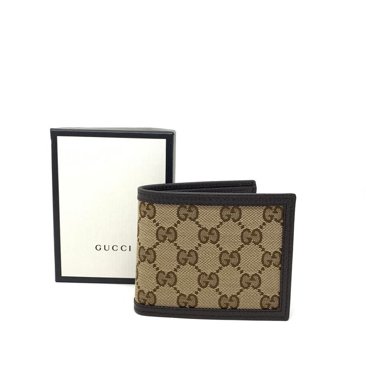 Gucci Brown GG Canvas Bifold Wallet Designer Consignment From Runway With Love