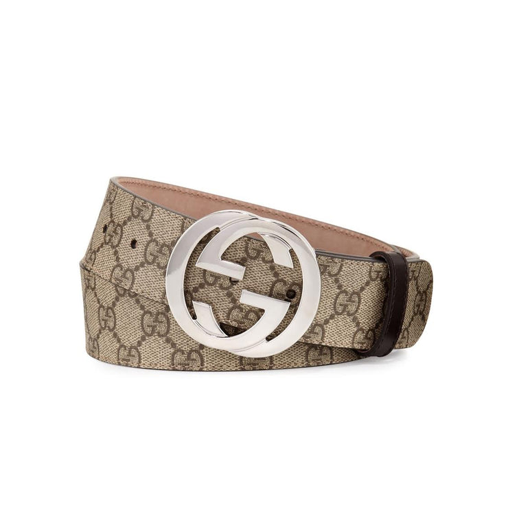 Gucci GG Supreme Belt Interlocking G Designer Consignment From Runway With Love