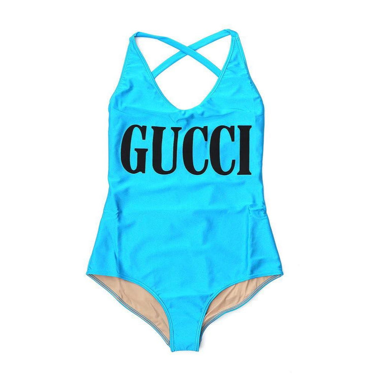 Gucci Logo Swimsuit Blue Designer Consignment From Runway With Love
