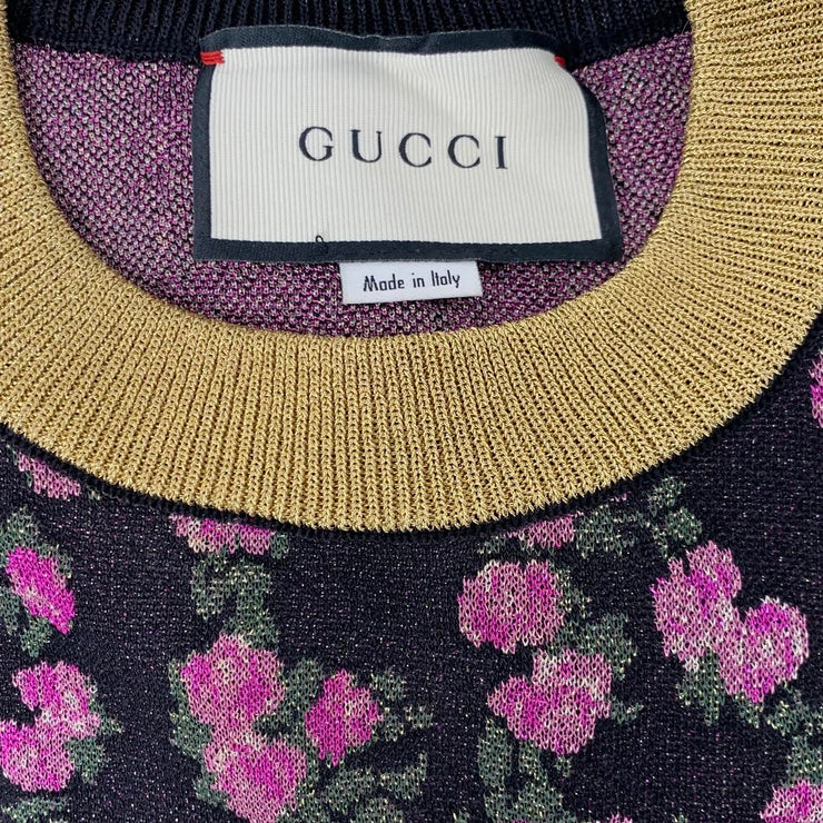 Gucci Metallic Floral Sweater Designer Consignment From Runway With Love