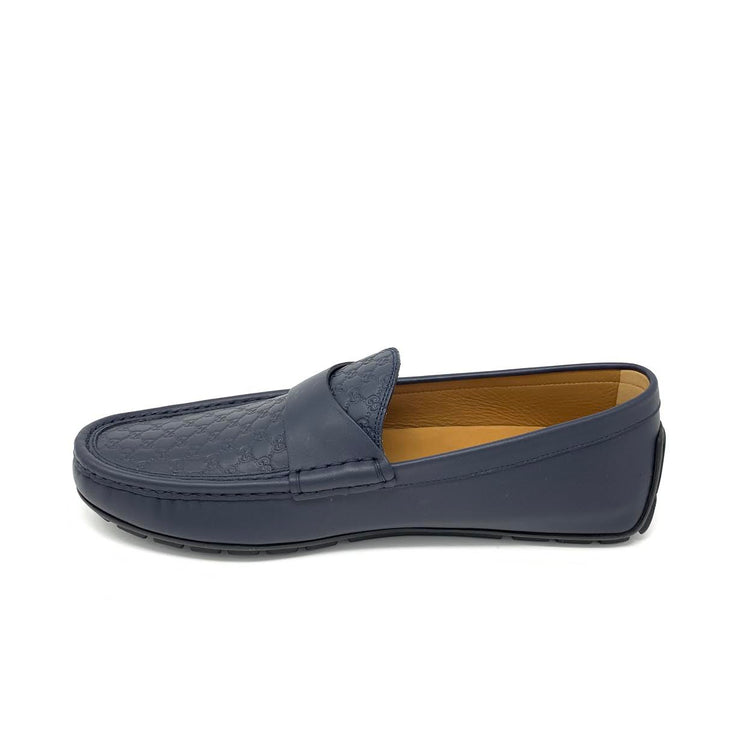 Gucci Navy Guccissima Driving Loafers Designer Consignment From Runway With Love