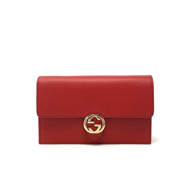 Gucci Interlocking GG Wallet On Chain in Red w/ Tags