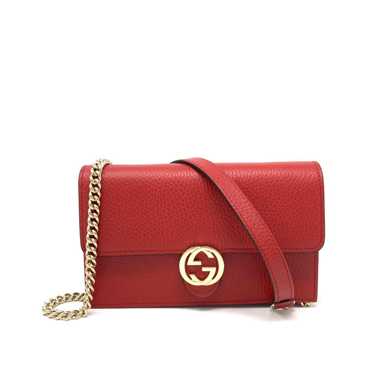 Gucci Red Interlocking GG Wallet On Chain Designer Consignment From Runway With Love