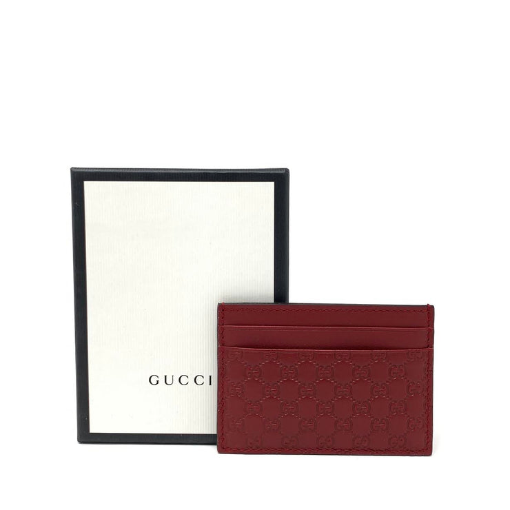 Gucci Red Leather Guccissima Card Holder Designer Consignment From Runway With Love