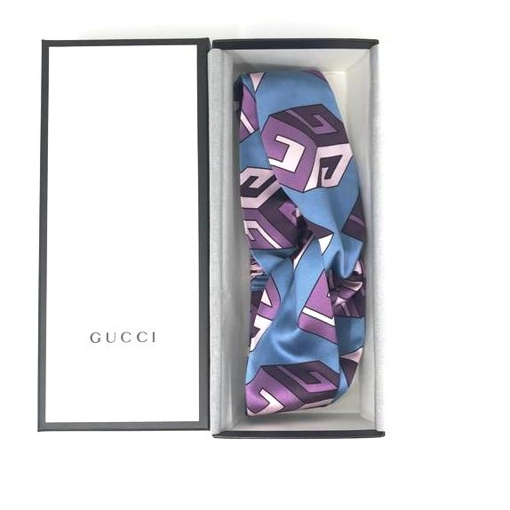 Gucci GG Wallpaper Silk Duchesse Headband in blue