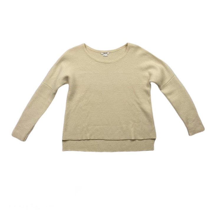 Helmut Lang Scoop Neck Ivory wool Sweater Consignment shop from runway with love