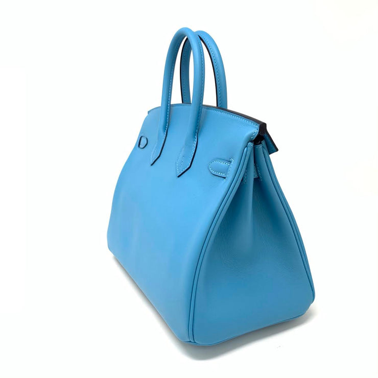 Hermes Bleu Du Nord Swift Birkin 25 Kelly Gold Designer Consignment From Runway With Love