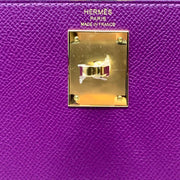 Hermes Epsom Kelly 28 Sellier Anemone gold Leather Consignment Shop From Runway With Love