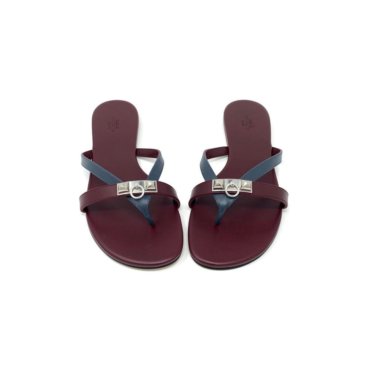 Hermes Corfou Sandals Bordeaux Designer Consignment From Runway With Love