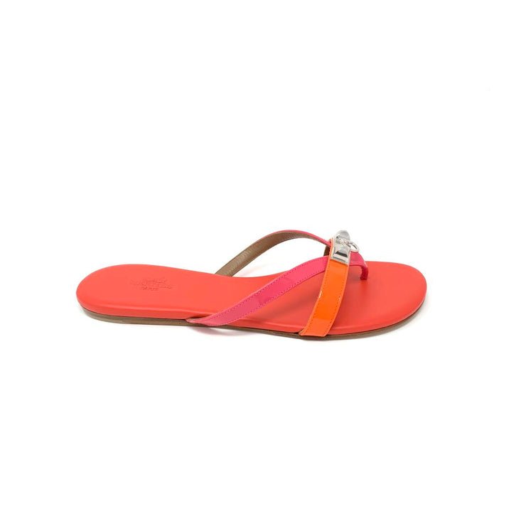 Hermes Corfou Sandals Orange Tangerine Designer Consignment From Runway With Love