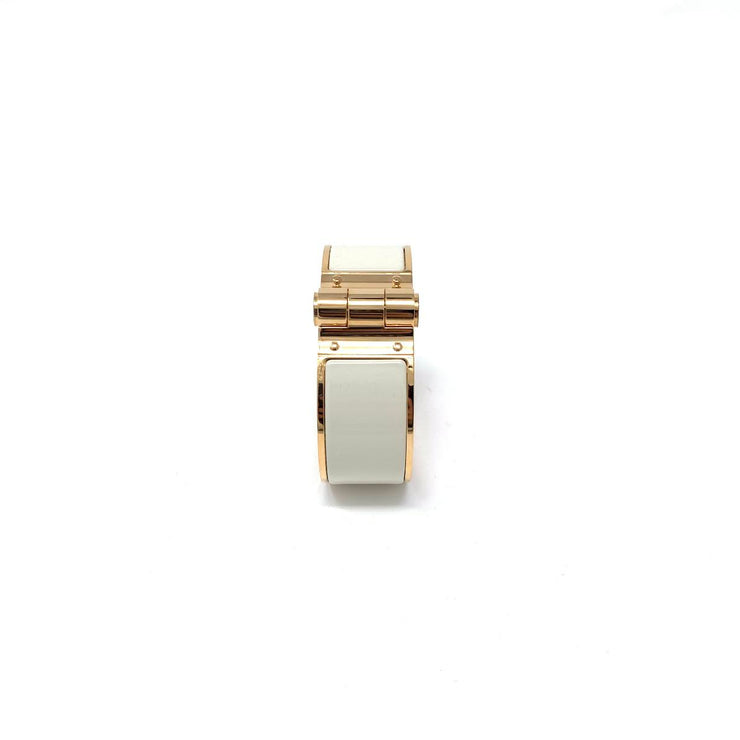18K rose gold Hermès hinged enamel bracelet Pannacotta color