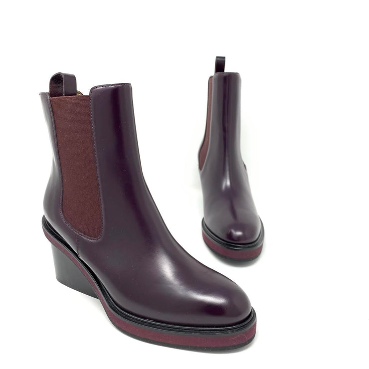 Hermès Ness ankle leather boots Bourgogne Burgundy