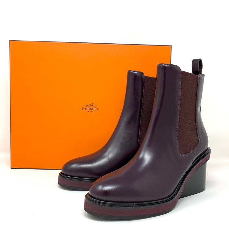 Hermès Ness ankle leather boots Bourgogne Burgundy designer consignment